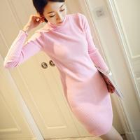 秋冬新款韩版修身中长款针织衫 高领套头打底衫毛衣女装 连衣裙