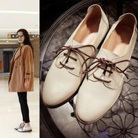 2016新款女鞋米白低跟方根深口细带大码鞋春秋款