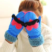 【可爱屋】韩版冬季保暖手套 爱心大胡子加厚毛绒全指手套 防水