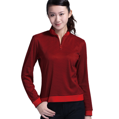 Female models thick long-sleeved T-shirt striped Egyptian cotton golf apparel / peacock jacquard thin strips of red high-necked T-shirt