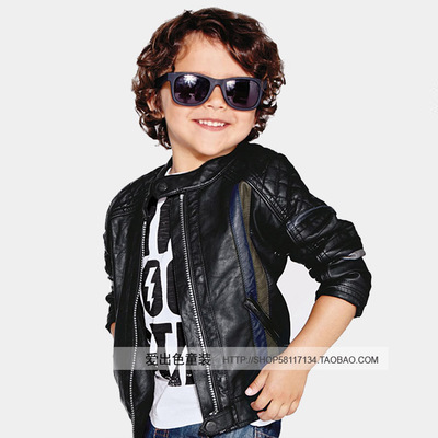 Europe and the new autumn and winter children's clothing boys fight color suede leather motorcycle leather coat plus child PU leather jacket leather jacket