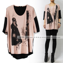 5 minutes of sleeve loose T-shirt woman printing ink painting a mask Europe and the United States summer wear OverSize