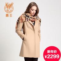 鹿王羊绒羊毛驼色混纺大衣新商场同款冬日新品 132486026