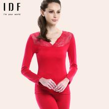 [断码清仓]  色拉姆发热纤维女士V领本命年大红色保暖内衣套装图片