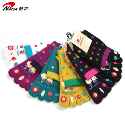 Ms. Nair authentic autumn and winter in tube cotton toe socks toe socks cute female deodorant socks (6 pairs group)