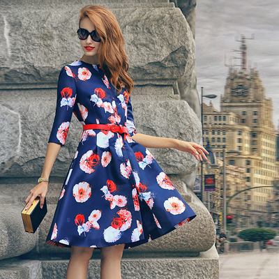 PRASE new winter 2014 women's European leg autumn dress put on a large printed long-sleeved dress