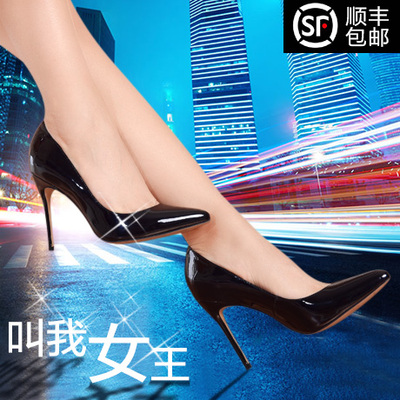 2015 spring new European and American ladies leather high heels pointed fine with a single shoe black red shoes OL career