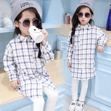 New 2015 children age season long sleeve leisure plaid shirt long sleeve shirt long girl girl render