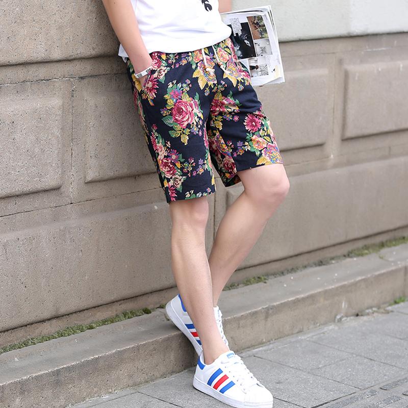 大码民族风夏季薄款男士短裤休闲裤子五分裤宽松中裤花马裤沙滩裤青年