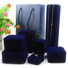 珠宝蓝色天鹅绒首饰盒戒指项链手镯手链盒子求结婚礼盒手提袋