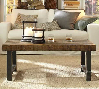 LOFT American country wood, wrought iron coffee table living room sofa side table a few casual coffee table