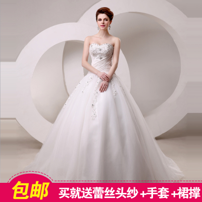 Qi 2014 new winter wedding dress custom bridal lace Bra type thin diamond tailing wedding