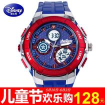 迪士尼手表男孩新款学生夜光表 美国队长3防水运动电子表男士腕表