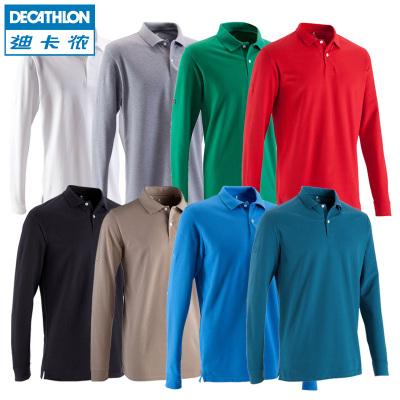 Decathlon long-sleeved POLO shirt lapel male early autumn campaign T-shirt bottoming shirt big yards cotton solid color INESIS