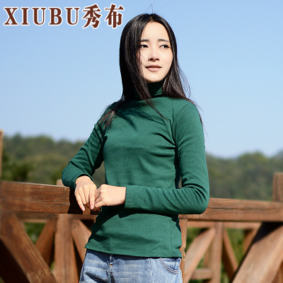 Show new Korean version of the original fabric T-shirt loose cotton long-sleeved t-shirt female high-necked blouses bottoming shirt cotton tide