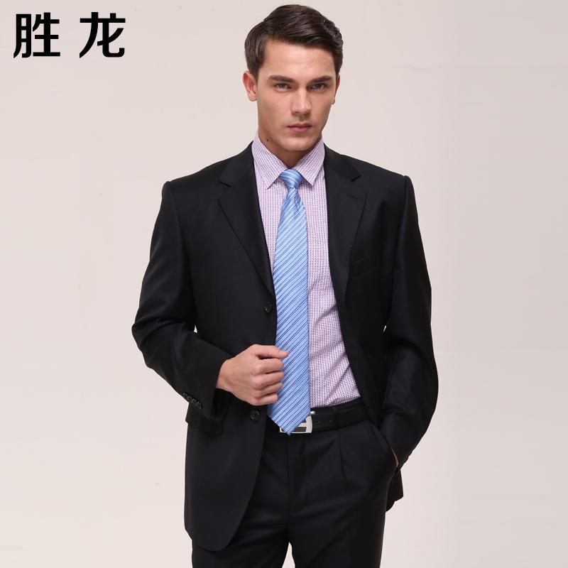 勝龍男士西服上衣 修身商務職業正裝休閑裝藏青色男潮圖片