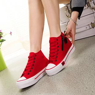 帆布鞋女新款厚底韩版松糕跟高帮红唇侧拉链内增高布鞋休闲运动鞋
