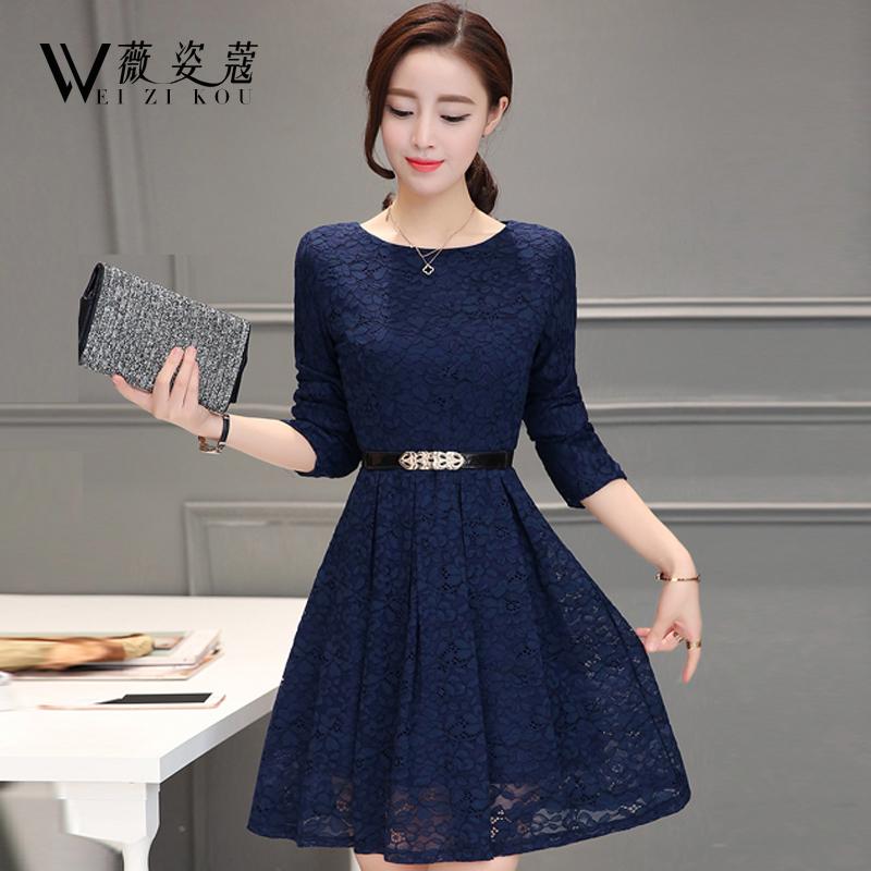 秋冬季2016新款韩版女装蕾丝连衣裙长袖中长款加绒加厚保暖打底裙