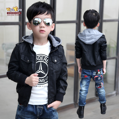 Free shipping 2014 new Autumn clothing jacket Korean tidal boy hooded leather jacket spring and autumn male child