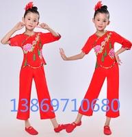 新款儿童民族舞秧歌舞演出服装女童舞蹈服幼儿古典舞汉族舞表演服