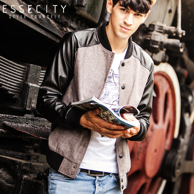 essecity new Korean version of Slim Men Fashionable baseball uniform jacket men's casual jackets men