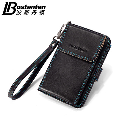 Bosi Dan Dayton men's leather wallet multifunction leather bag for iphone wallet a short section of vertical