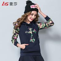 秋冬装韩版学生加绒加厚短款连帽卫衣女套头长袖印花宽松显瘦外套