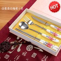 创意礼品不锈钢筷子勺子刀叉陶瓷四件套红花餐具套装送礼餐具