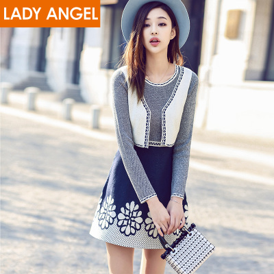 Choke a small pepper ice song fashion fake two round neck long-sleeved dress waist jacquard female 61140473