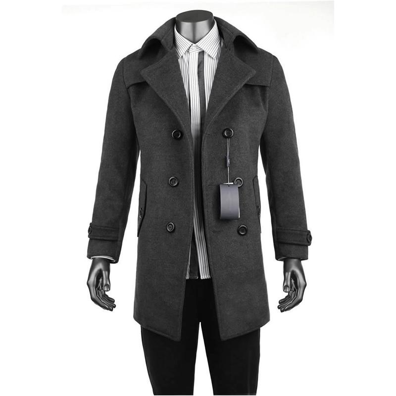 七匹狼正品風衣男士休閑男裝冬季男士羊毛呢子大衣中長款外套大碼圖片