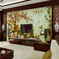 环丽 3d壁纸客厅电视背景墙纸壁画无缝墙布无纺布中式浮雕仿玉雕