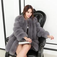 新款2016仿皮草外套中长款长袖本色狐狸毛竖条纹拼接水貂毛大衣