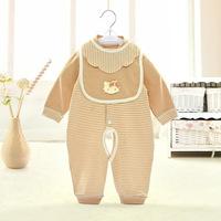 彩棉宝宝连体衣内衣 婴儿新生儿纯棉长袖开档哈衣爬服