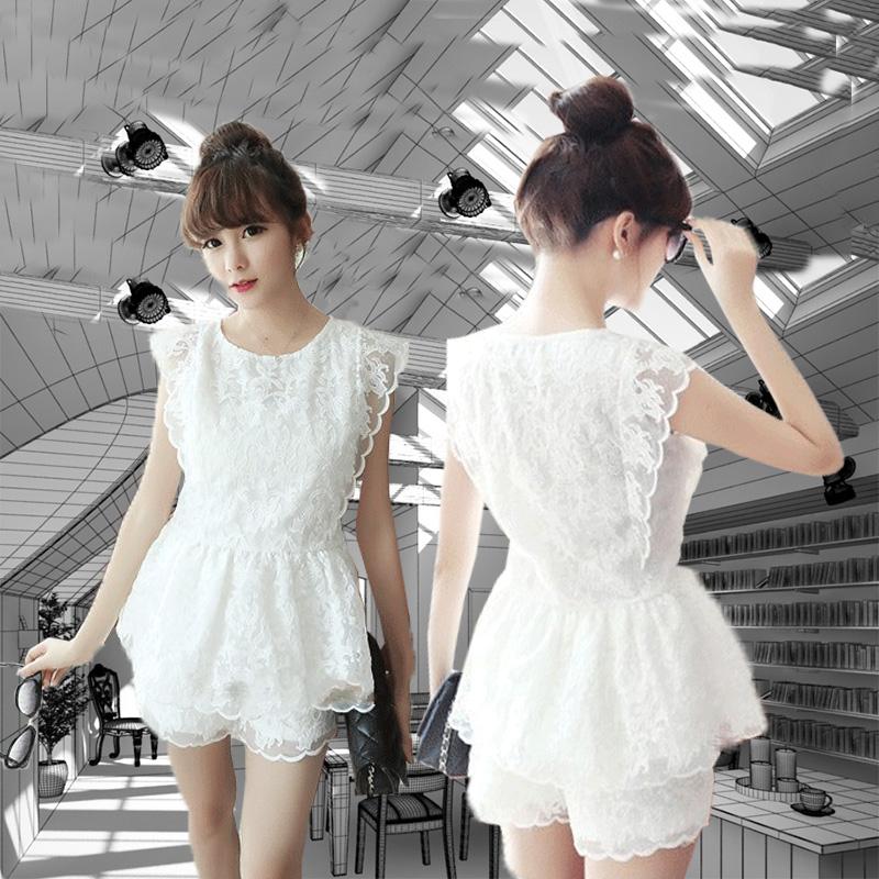 2015夏季新款蕾丝套装连衣裙女装无袖韩系夏装两件套收腰裙夏天潮