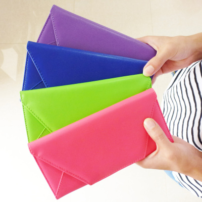 2015 new Korean version of the candy-colored envelope bag Miss Qian Bao Clutch Wallet long section of purse wallet card package slim