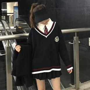 时尚套装春秋V领针织衫毛衣外套+中长款长袖衬衣两件套女