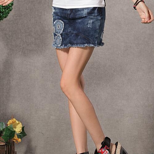 原创民族风女裙 中国风时尚毛边贴布刺绣牛仔裙 复古水洗半身短裙