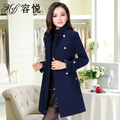 Yung Yue woolen coat female 2014 autumn and winter new Korean Slim long section of double-breasted women's winter coats