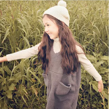 Booking/Korea imported children's wear 14 / pure lovely lambs wool double pocket long winter children vest
