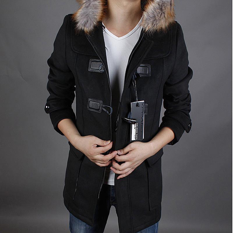 2014冬装可脱帽带毛领男士修身韩版风衣牛角扣风衣美特斯邦威