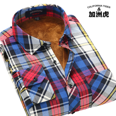 California tiger winter new men's warm thick velvet plaid shirt men's casual long-sleeved shirt sanding