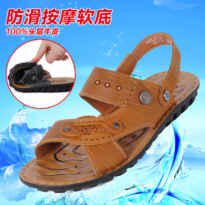 2014 summer new breathable first layer of genuine leather sandals male line of dual-slip soft-soled sandals