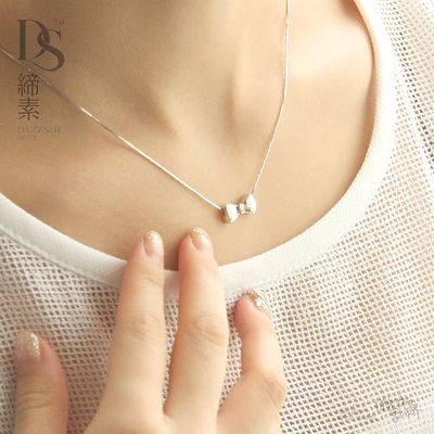 Associating prime bow pendant 925 silver necklace short paragraph clavicle chain female simple wild Korean accessories jewelery
