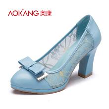 奥康女鞋 春秋新品 蕾丝绣花网布透气舒适高跟鞋 蝴蝶结单鞋图片