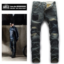 Hong Kong tide brand NEIGHBORHOOD shawn yue jeans men straight hole patches do old cowboy pants