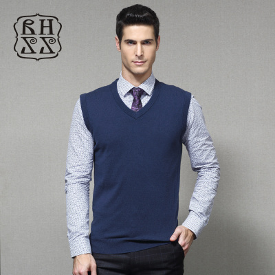 Extreme winter men's cashmere Wong pure wool v-neck vest solid color men's casual wool woolen vest vest vest