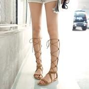 后拉链凉鞋女平底鞋高筒靴罗马交叉绑带凉靴系带欧美度假舒适平跟
