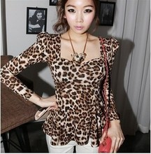 2015 in the spring and autumn women's new European square collar cultivate one's morality show thin skirt long sleeve leopard grain coat dresses