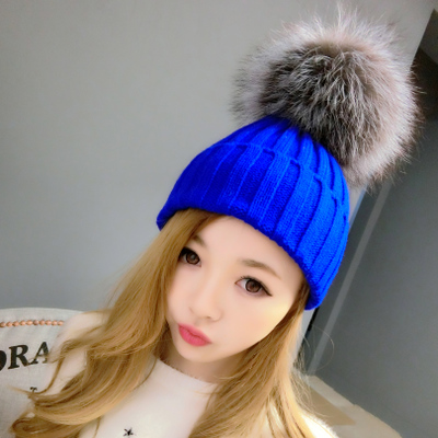 Oversized fox autumn and winter high-grade wool hat knitted hat ovo ball autumn and winter fur hat millinery Korean