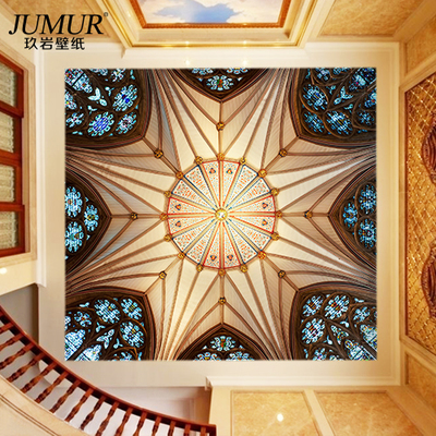 European seamless large mural ceiling hall roof ceiling wallpaper 3D wallpaper Sofia dome